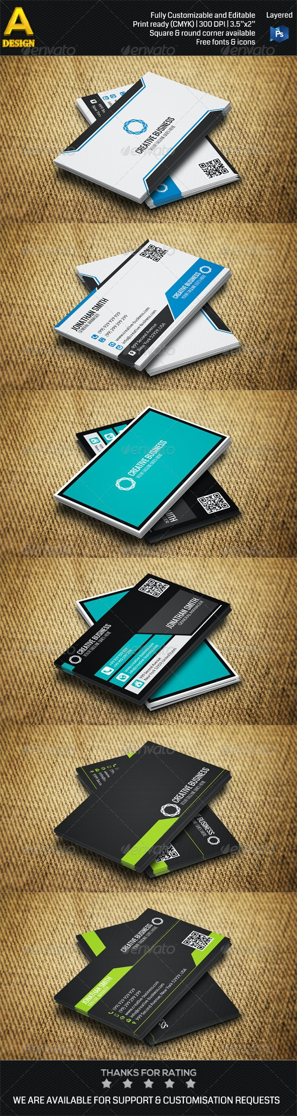 3 in 1 Corporate Business Card Bundle ANB0027 - Corporate Business Cards