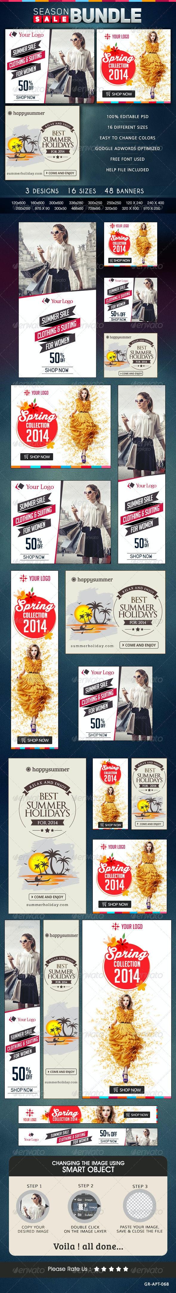 Season Sale Banner Bundle - 3 Sets - Banners & Ads Web Elements