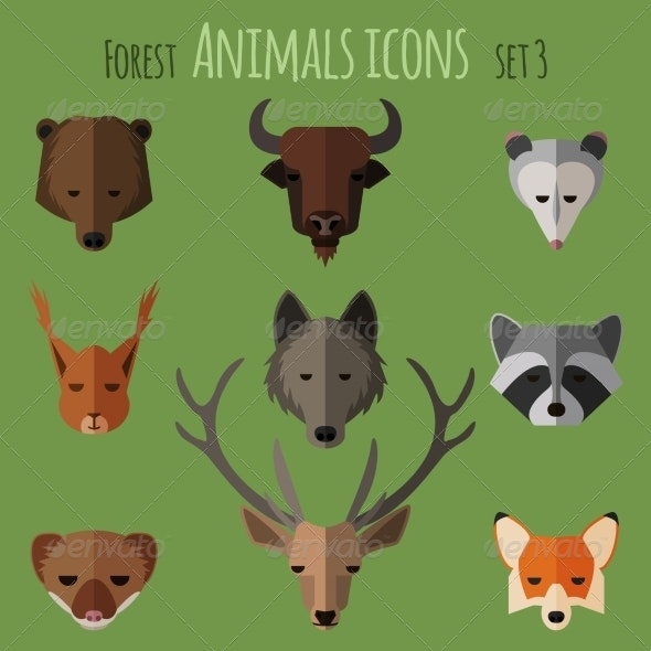 Forest Animals Flat Icons. Set 1 - Animals Characters