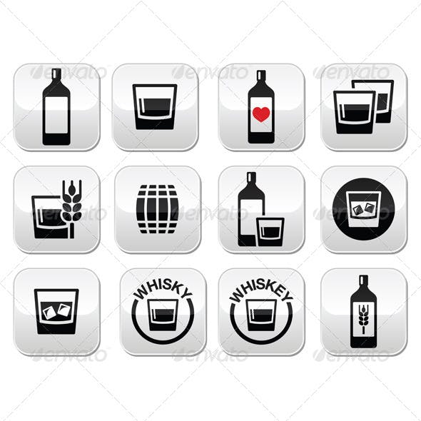 Whisky or Whiskey Alcohol Buttons Set