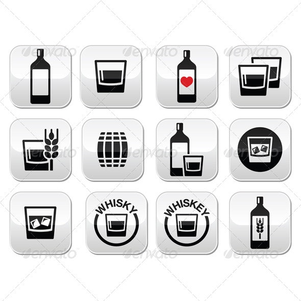 Whisky or Whiskey Alcohol Buttons Set  - Food Objects