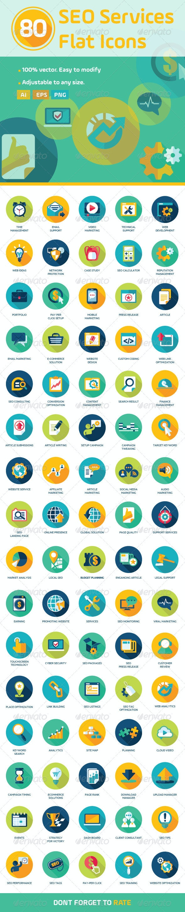 80 Flat SEO Services Icons