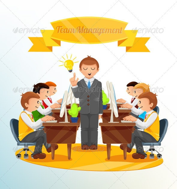 Team Management Illustration - Business Conceptual