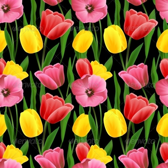 Tulip Seamless Background - Flowers & Plants Nature