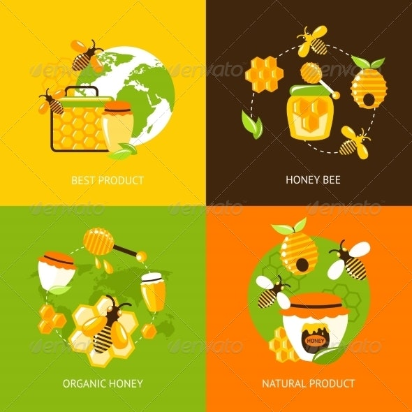 Honey Icons Set - Food Objects