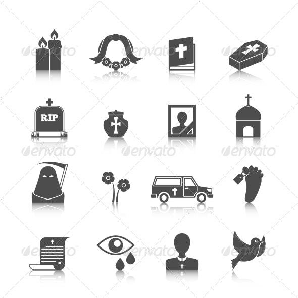 Funeral Icons Set - Web Elements Vectors