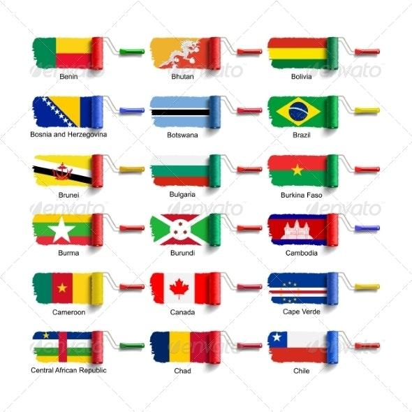 Roller Brush with Flag - Decorative Symbols Decorative