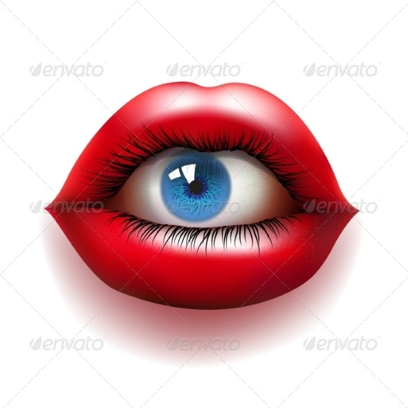 Red Lips with Eye - Miscellaneous Conceptual