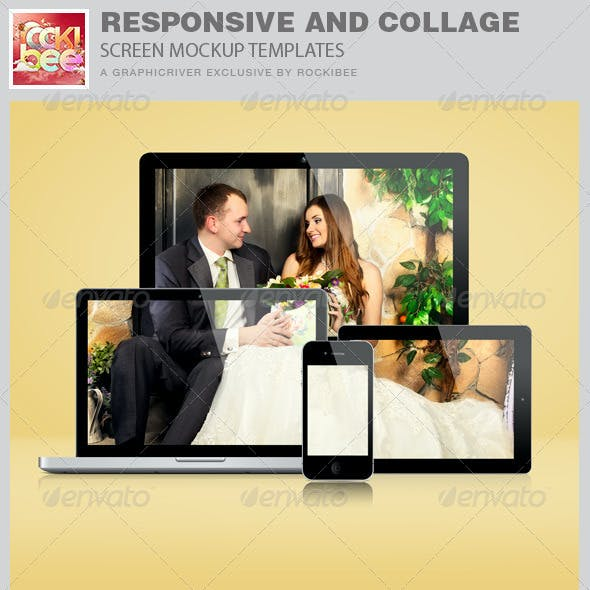 Responsive and Collage Screen Mockup Templates