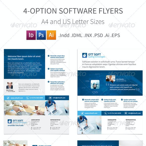 IT and Software Flyers – 4 Options