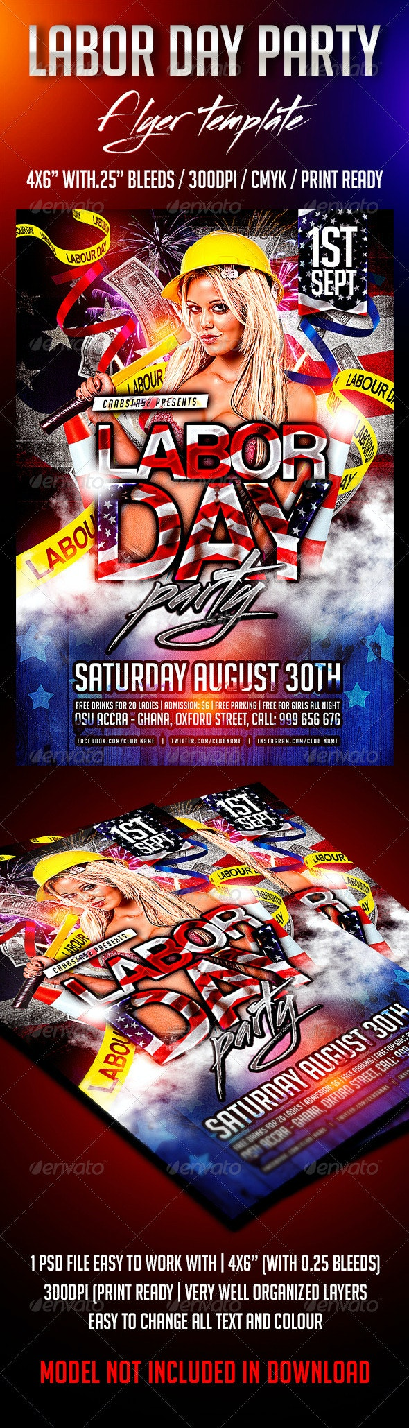 Labour Day Party Flyer Template - Flyers Print Templates