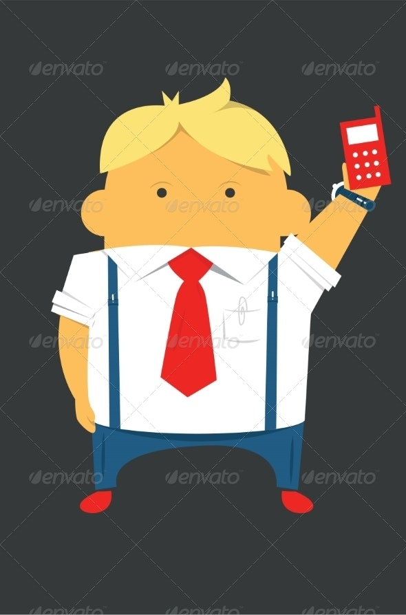 Businessman with a Phone Hardworking and Busy - People Characters