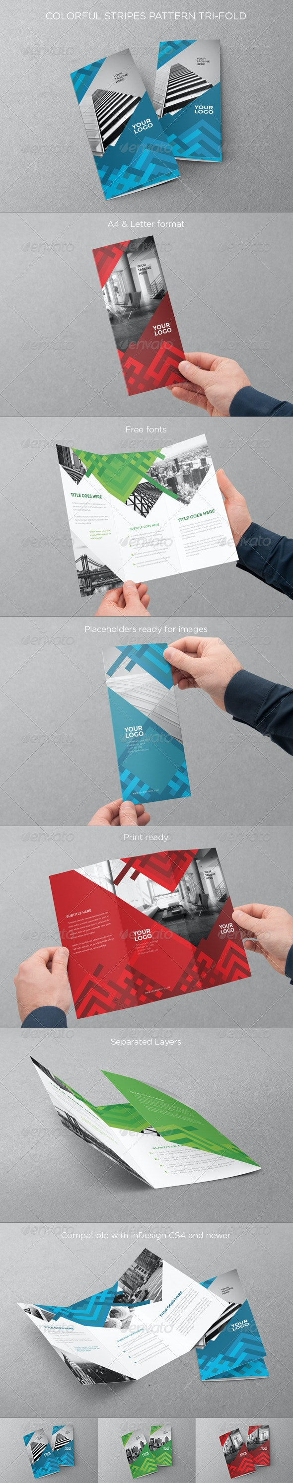 Colorful Stripes Pattern Trifold - Brochures Print Templates