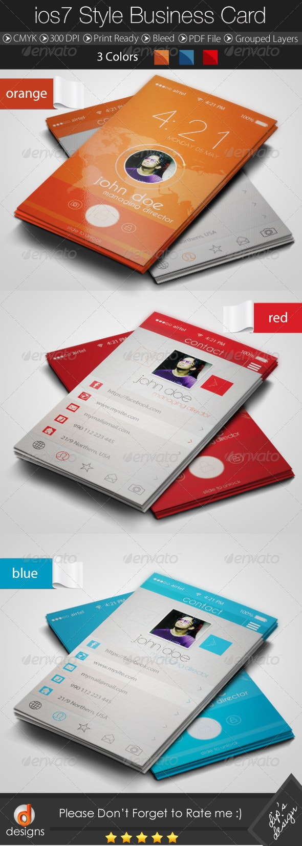 IOS 7 Style Business Card - Creative Business Cards