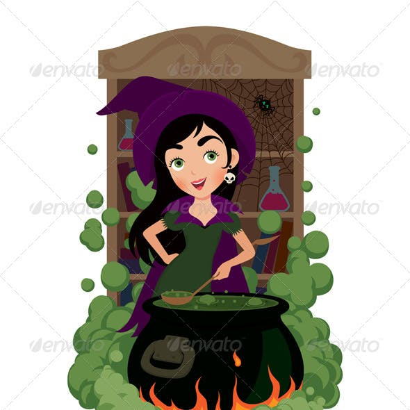 Witch Cooks Potion