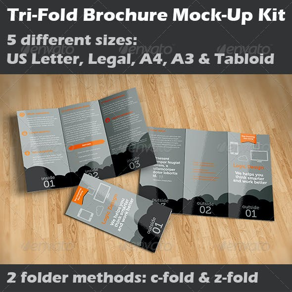 Tri-Fold Brochure Mock-Up Kit