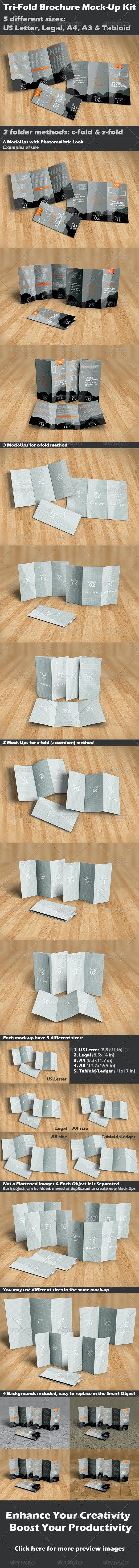 Tri-Fold Brochure Mock-Up Kit - Print Product Mock-Ups