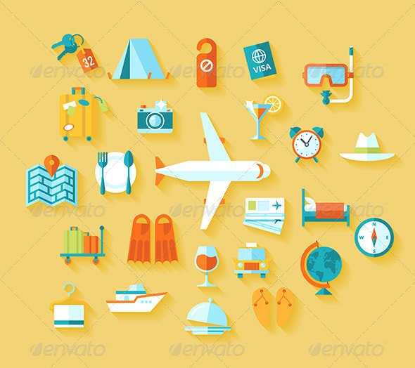 Flat Travel Icons Set - Travel Conceptual