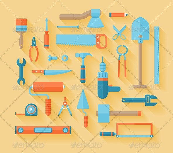 Flat Tools Icons Set - Buildings Objects