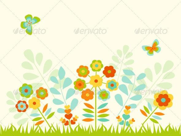 Greeting Card with Flowers - Flourishes / Swirls Decorative