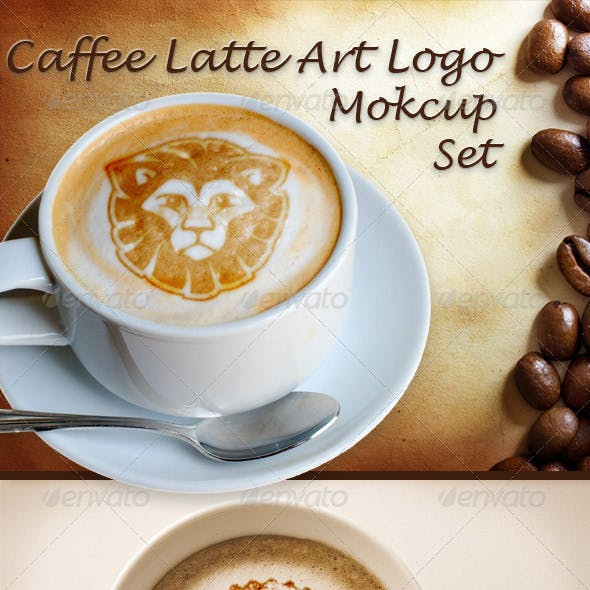 Caffee Latte Art Logo Mockup Set