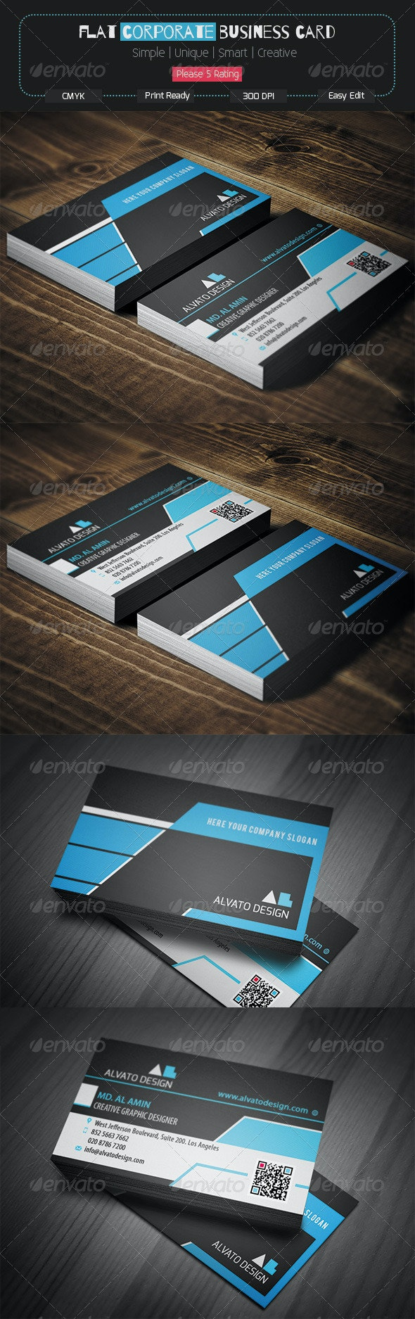 Flat Corporate Business Card - Corporate Business Cards