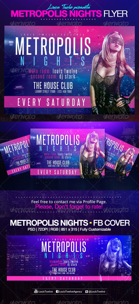 Metropolis Nights | Horizontal Flyer + FB Cover - Clubs & Parties Events