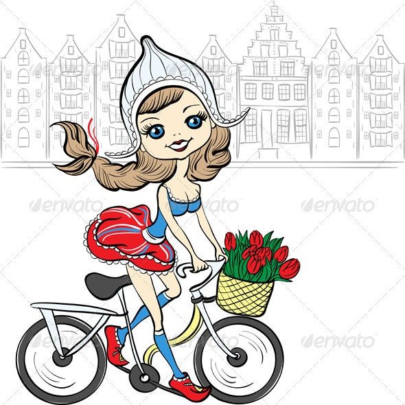 Girl on a Bike in Amsterdam - People Characters