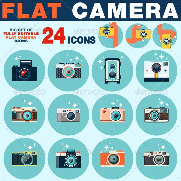 Photo Camera Icons Set in Flat Style