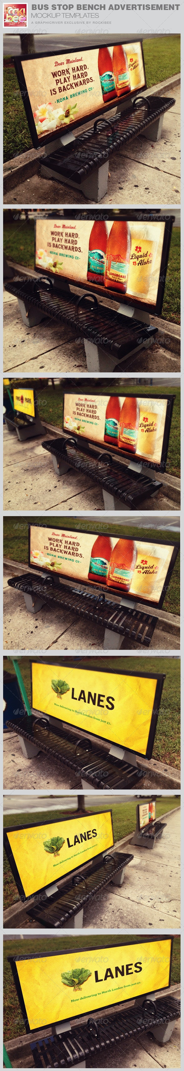 Bus Stop Bench Advertisement Mockup Templates - Signage Print
