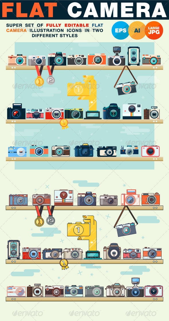 Photo Camera Super Set in Flat Style - Objects Vectors