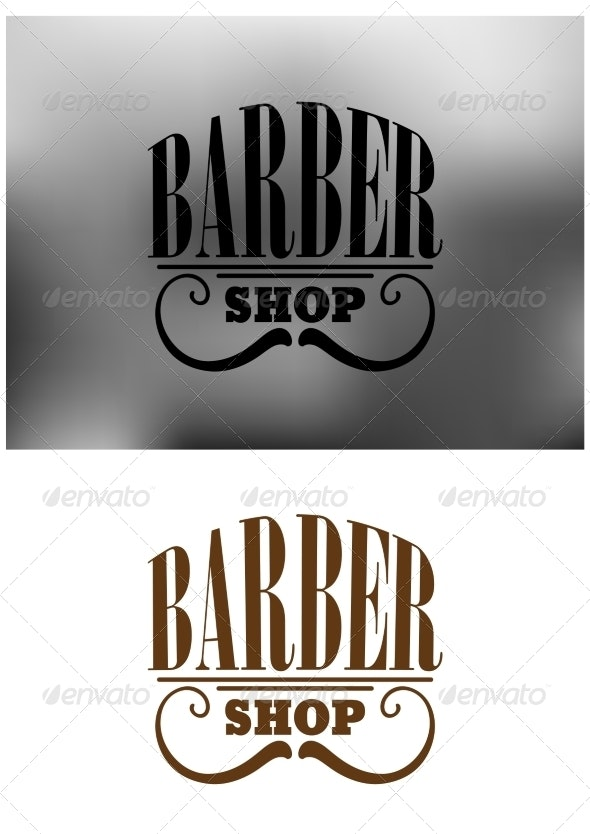 Retro barber shop emblem with mustache - Services Commercial / Shopping