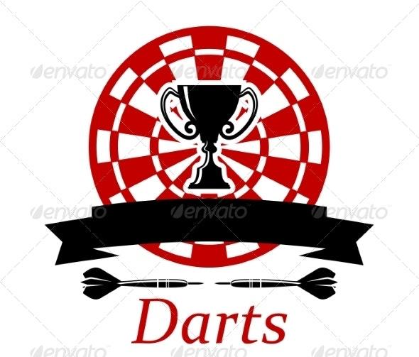 Darts Emblem with Trophy Cup - Sports/Activity Conceptual