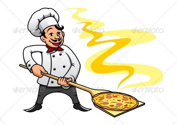 Cartoon Chef Cooking Pizza - People Characters