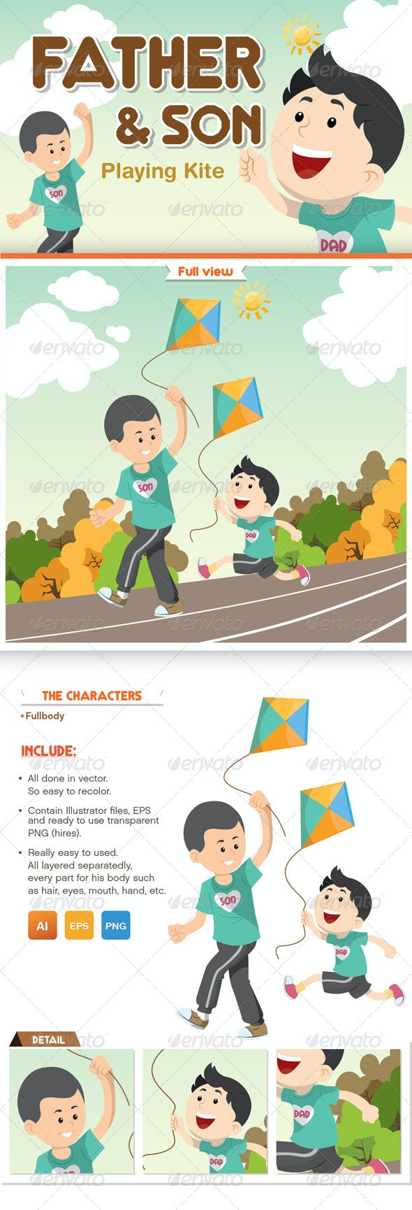 Father and Son Playing Kite - People Characters