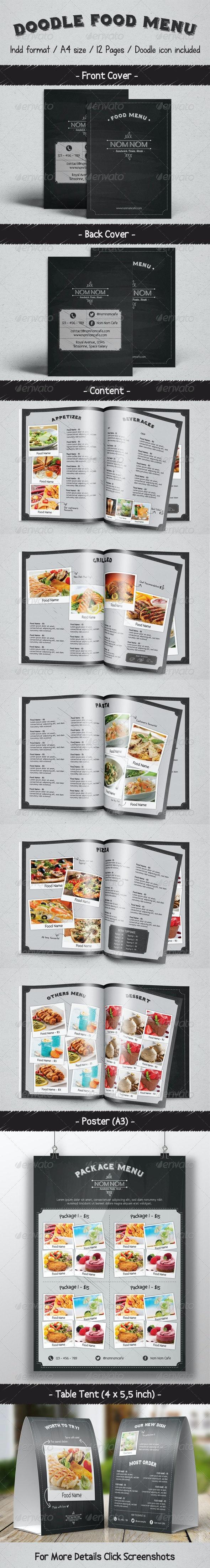 Doodle Food Menu Package - Food Menus Print Templates