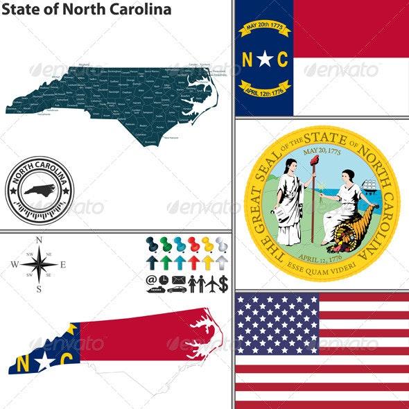 Map of state North Carolina, USA - Travel Conceptual