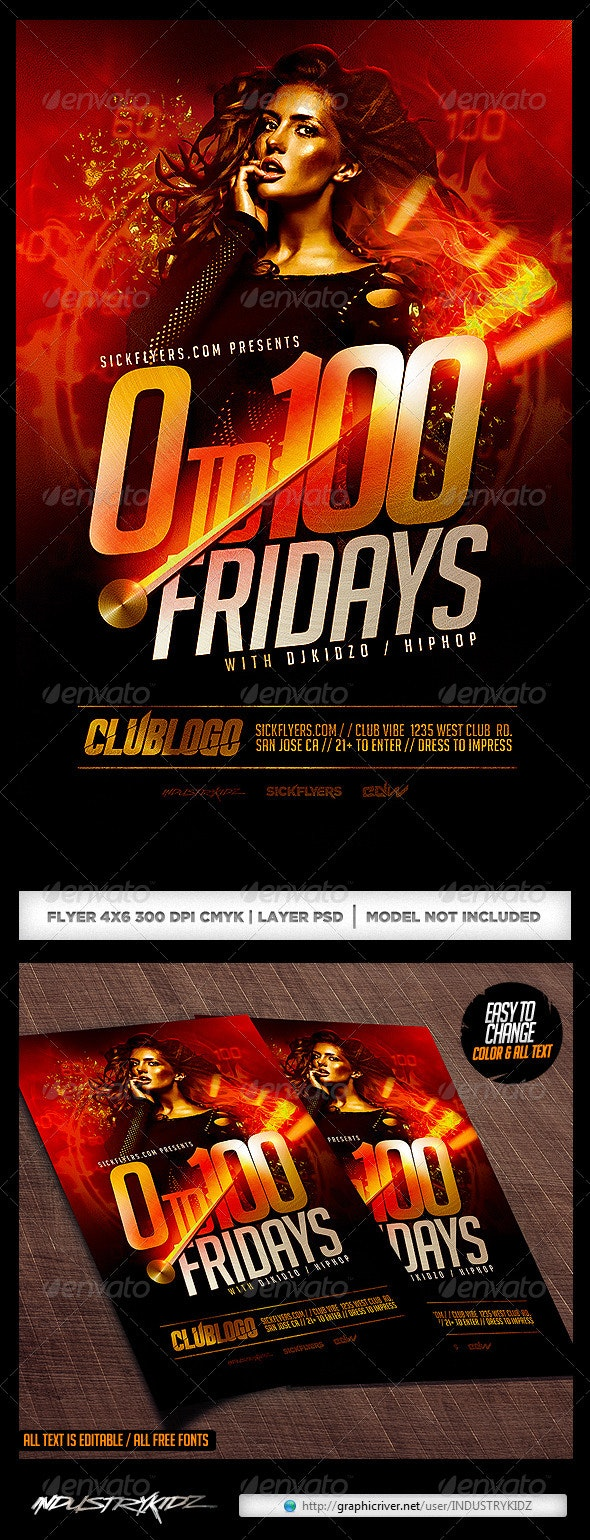 Zero To One Hundred Flyer Template PSD - Clubs & Parties Events