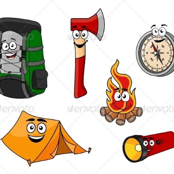 Cartoon Camping and Travel Objects