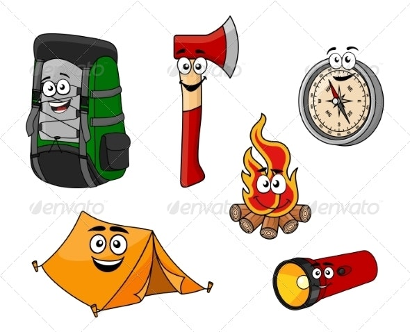 Cartoon Camping and Travel Objects - Travel Conceptual