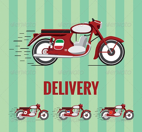Old Timer Motorcycle for Food Delivery. - Man-made Objects Objects