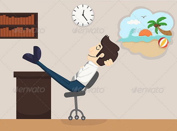 Businessman Relaxing, Dreaming - Concepts Business