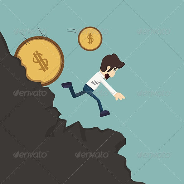 Businessman Running from Coins - Concepts Business
