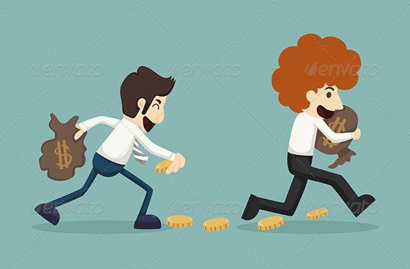 Businessman gets Money - Concepts Business