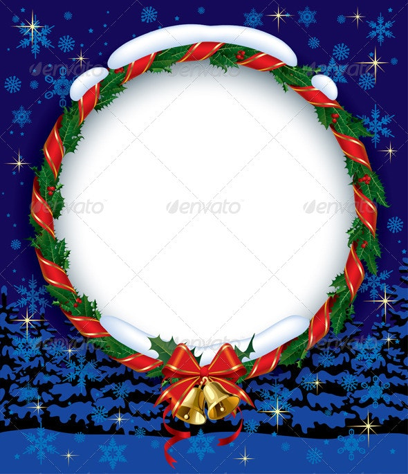 Holly Wreath with Bells - Christmas Seasons/Holidays