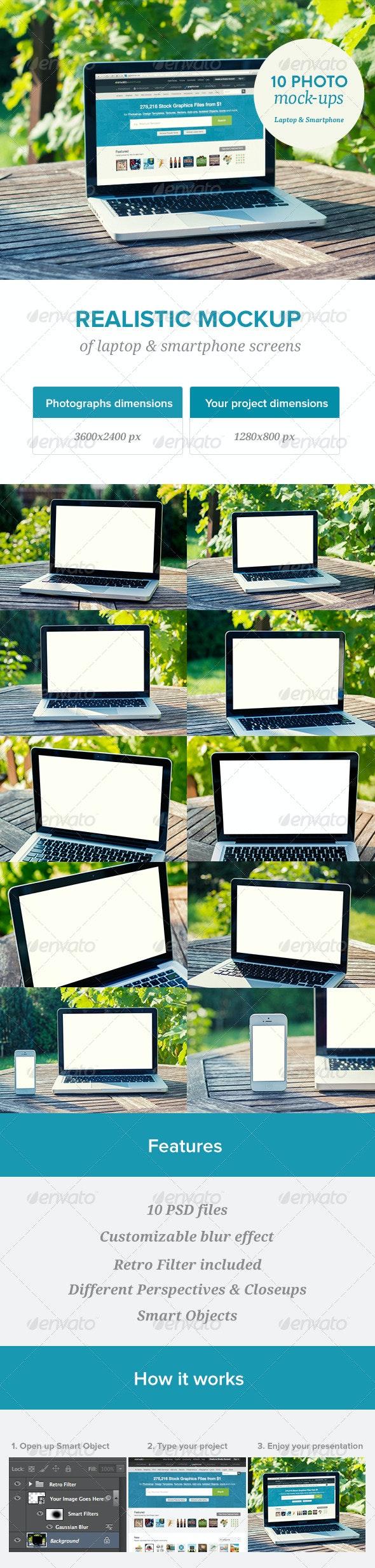 Laptop Screen Mockup - 10 PSD files - Laptop Displays