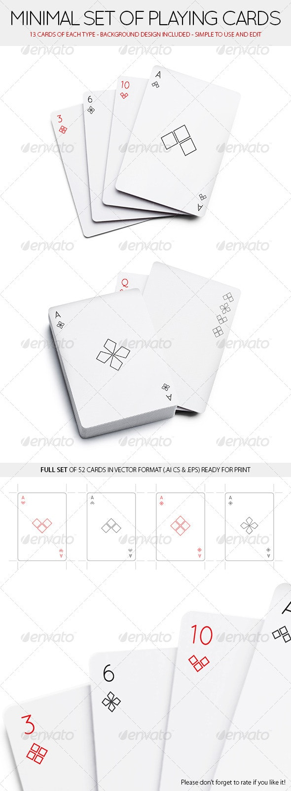 Minimal Set of 52 Playing Cards (Standard deck) - Miscellaneous Vectors