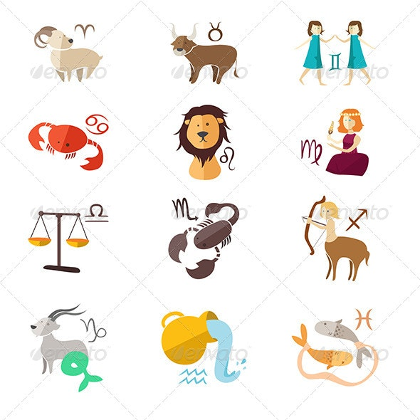 Zodiac Sign Icons - Animals Characters