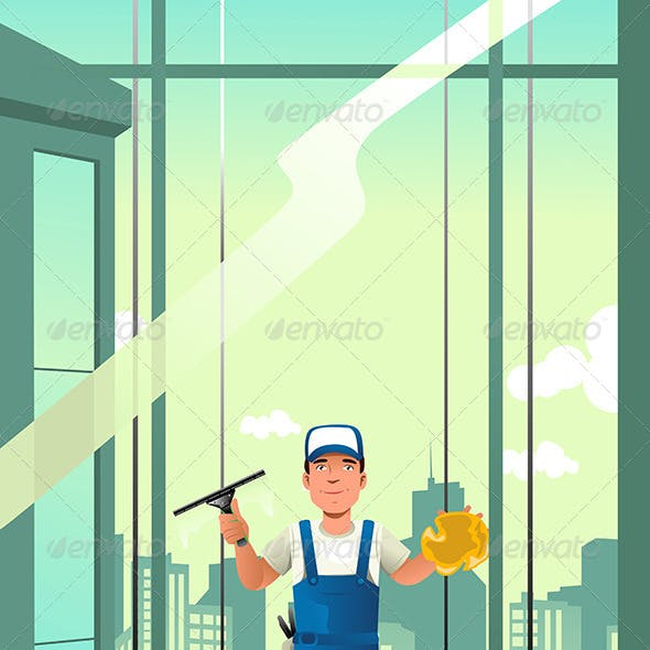Windows Cleaner of High Rise Buildings