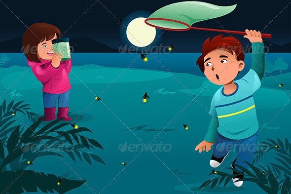 Kids catching Fireflies - People Characters